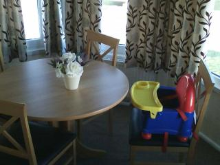 We now have a 'booster' chair for the little ones which fits onto a dining room chair.