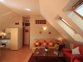 salón abuhardillado, wifi y tv. pantalla plana, aire acondicionado centralizado, etc...