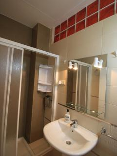 Baño con ducha grande y totalmente equipado, luz visal, gel, champú, alfombra baño, toallas, etc