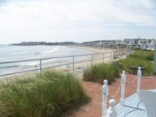 A summertime view along the beach wall from the front patio (before renovation)
