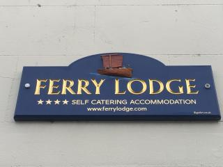 Ferry Lodge Sign above the door