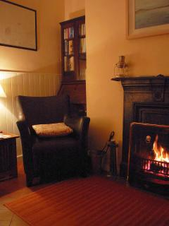 Our living room; enjoy a warm fire, a good book, and an easy listening soundtrack!