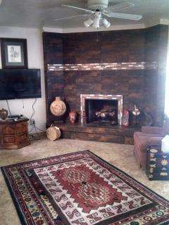 family room fireplace and flatscreen tv
