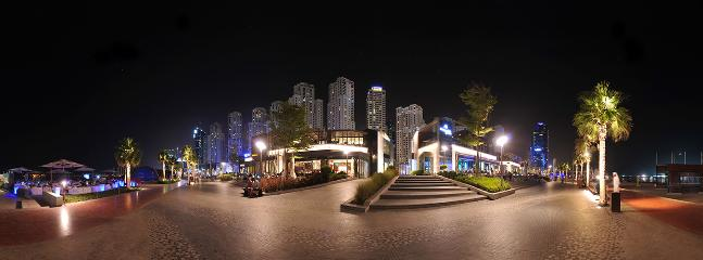 Panoramic view of JBR walk, Al Bateen in the background.