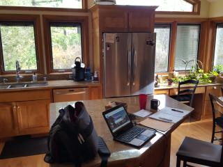 Stainless steel appliances, granite counters
