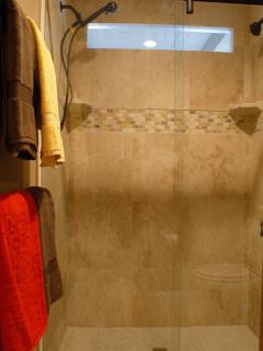 Walk-in shower with dual shower heads