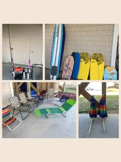 Beach toys for your use - beach cart, fishing equipment, chairs, boogie boards, and umbrellas
