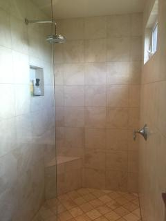 Lower bath adjacent to the twin bedrooms:  stone walk-in shower with rain head.
