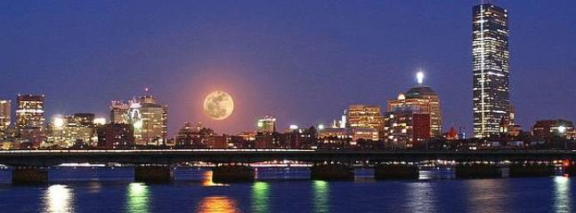 Boston's beautiful sky line during the super moon