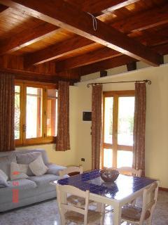 soggiorno con tetto in travoni di legno
