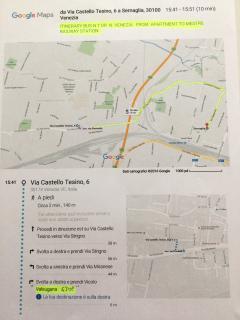 mappa: percorso autobus dall'appartamento alla stazione ferroviaria di Mestre-Venezia