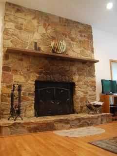 Beautiful wood burning fireplace.