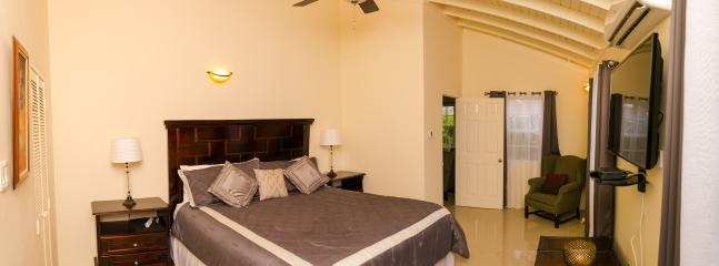 Master Bedroom with en suite bathroom, smart TV, AC, Ceiling fan and reading area.