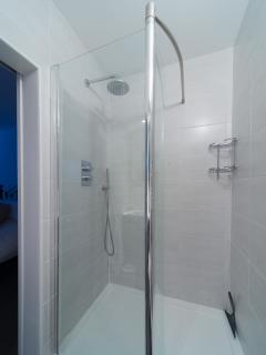 En-suite shower with hand held water blaster in addition to shower head.