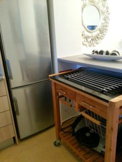 Large fridge/ freezer with pull-out trolley for additional surfaces