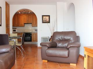 Spacious tastefully furnished lounge with open dining and kitchen area.
