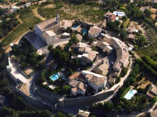 Aerial view of Cairanne,vieux village. Our house is situated just outside the old walls.