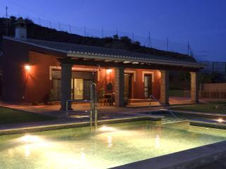 Casa y piscina de noche