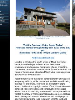 Website for whale visiter center across from condo