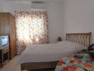 The bedroom has lots of storage, cable TV and internet with WiFi and dining area