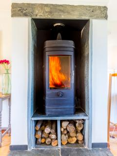 sycamores stylish woodburner which heats the whole house !