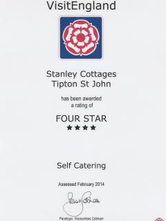 VisitEngland Four Star Rating 2014