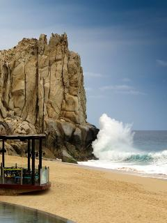 Surf crashing on the rocks
