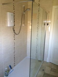 Walk-in Shower in main Edwardian-style Bathroom