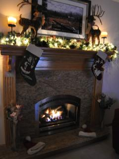 Great Room fireplace at Christmastime