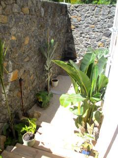 Espace jardin avec barbecue en pierres