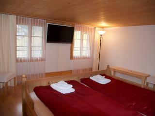 Schlafzimmer mit Doppelbett und Satelliten-TV