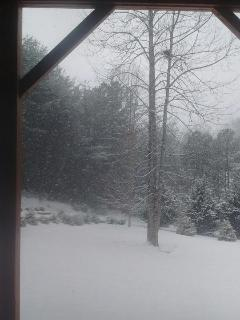 Looking at the snow from the front porch.