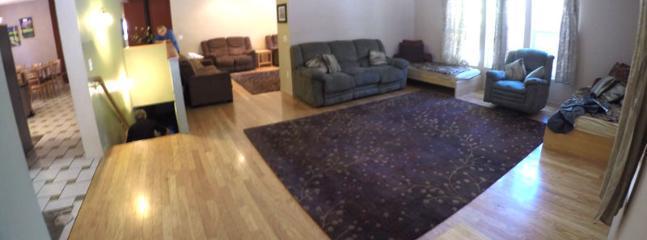 Living room, den, looking in from front door.