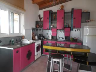 The unique tailormade kitchen in the apartment, 90 sqm. Welcome to explore a different holiday stay!