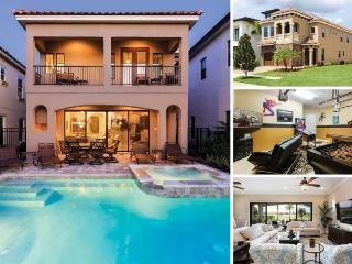 Floridian Bliss   5 Bed Villa with Beautiful Sunset Golf Course Views, West Facing Pool with Summer Kitchen, Mickey Mouse Themed Room, 70-inch TV, PS4 & 2 Games Rooms, Kissimmee