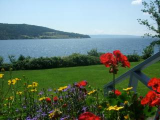 Peachful Porch view looking across at Beinn Bhreagh hillside over the Bras d'or Lakes