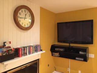 Living Room: Big 60' flat screen HD TV & wide selection of family friendly DVDs