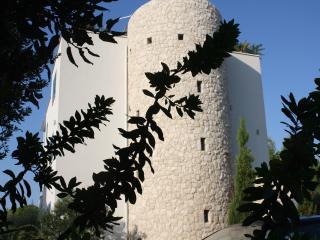 La caratteristica torre in pietra