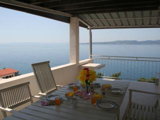 Stunning sea view from large dining terrace, 2 bedroom apartment, Brela