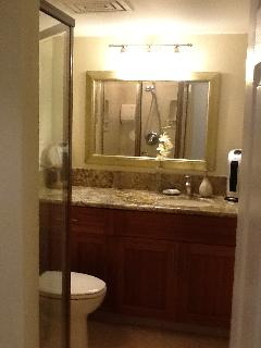 Hall bathroom, bamboo cabinets, granite counters,  handheld shower massage,   shampoo and more.