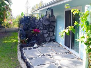 Lovely lava rock water feature at the entrance