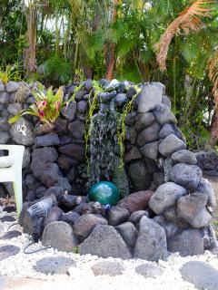 Your private water falls add ambiance