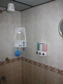 Large shower with hot water and amenities