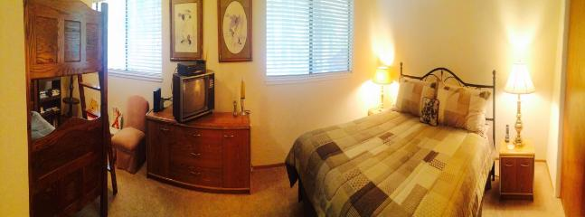 Panoramic view of the upstairs king/bunk bedroom.
