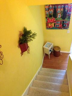 Down the stairs toward kitchen