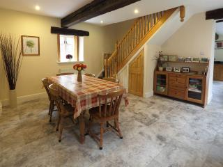 Dining room, table can be extended with kitchen table to seat 12 or more, underfloor heating