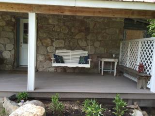 The porch swing on the wooden verandah is a wonderful spot on a warm summer evening