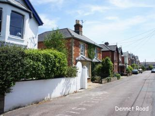 1 Drayton Cottage is the brick cottage, centre of the photo minutes from the sea and the shops