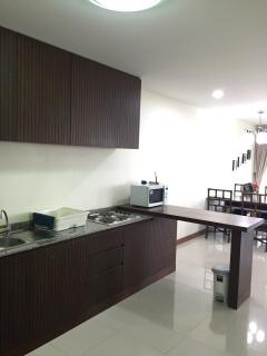 Kitchenette, living and dining in a large spacious area