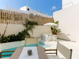 Casa en el centro con piscina climatizada regulable y garaje
